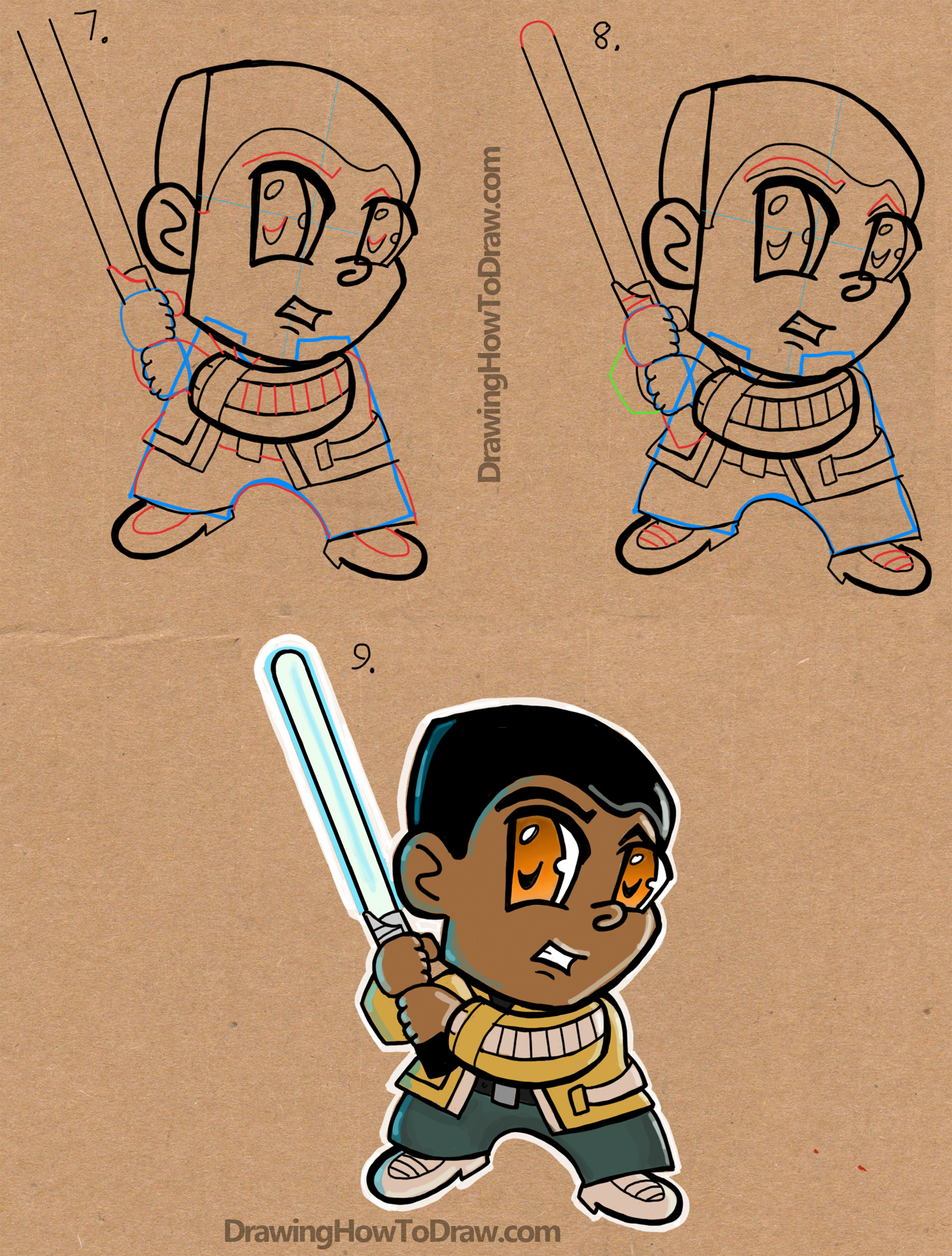 How to Draw Chibi Cartoon Finn from Star Wars The Force Awakens