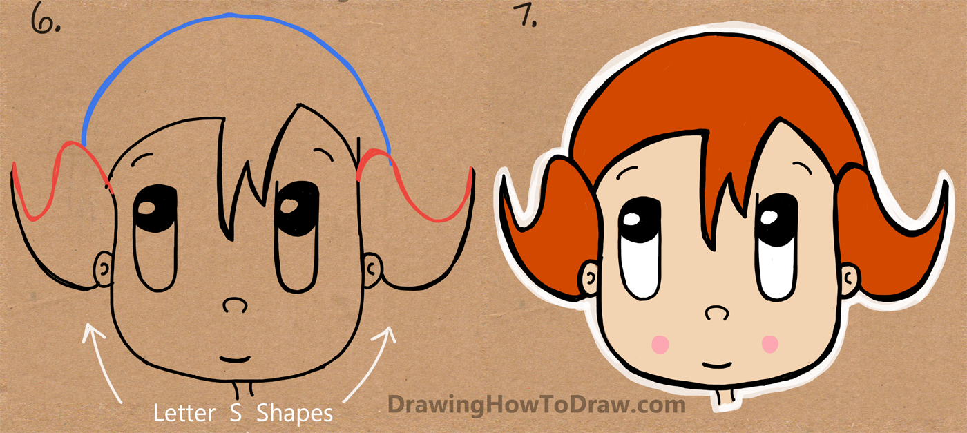 How to draw a cartoon girl from the word girl easy for How to draw a little girl easy