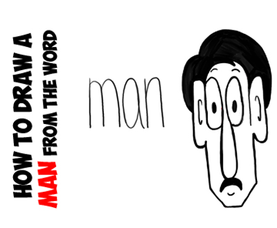 How to draw cartoon man from word man lesson for kids