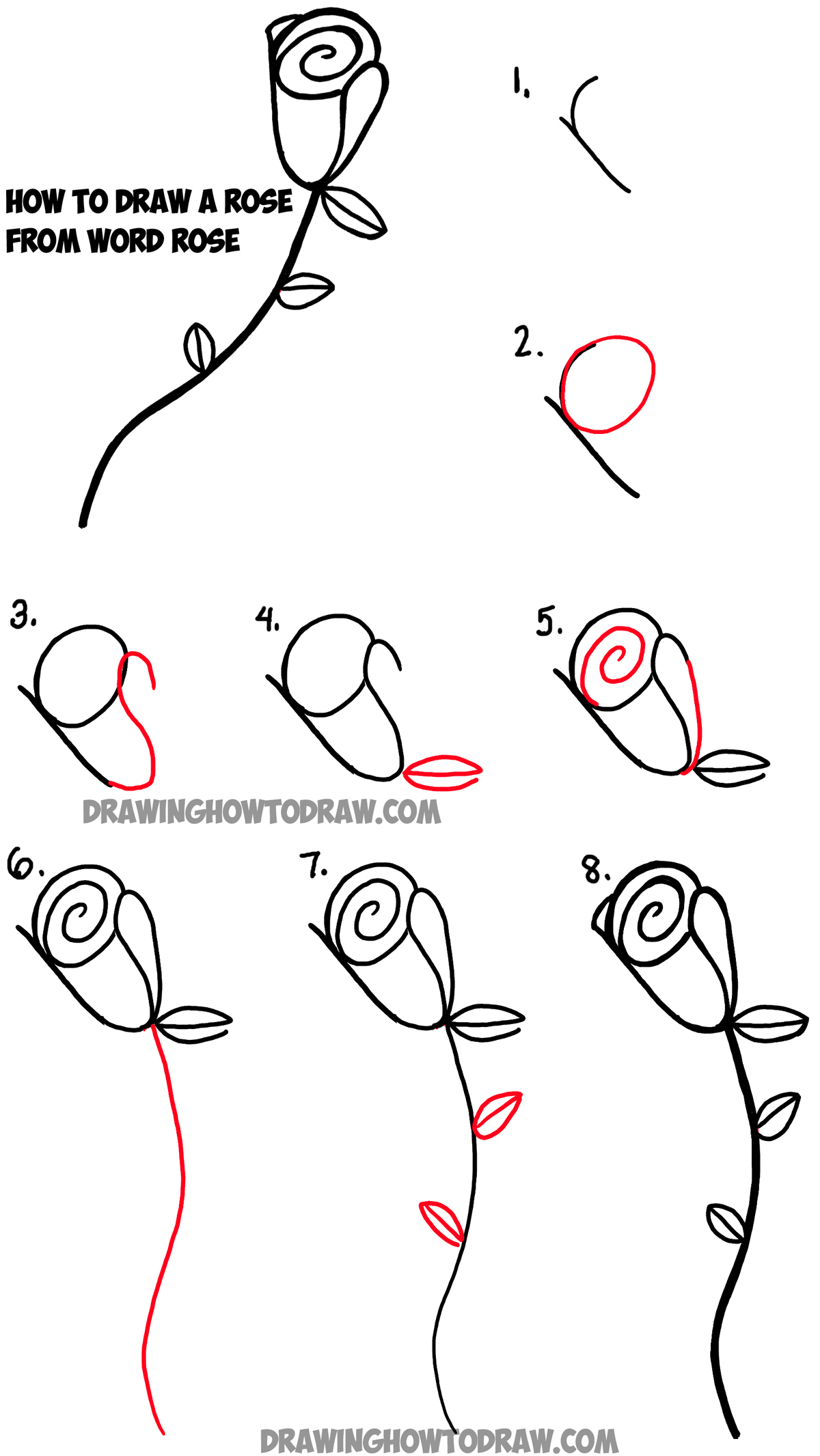 How To Draw A Rose From Word Rose Drawing Tutorial For Kids How To