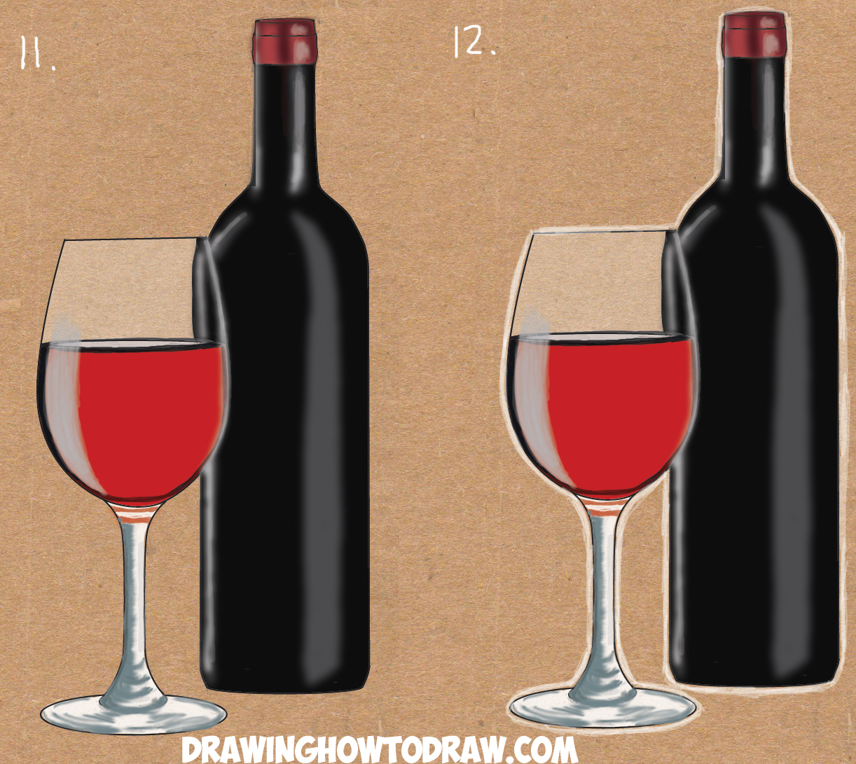 how to draw glass of wine and bottle of wine in easy steps