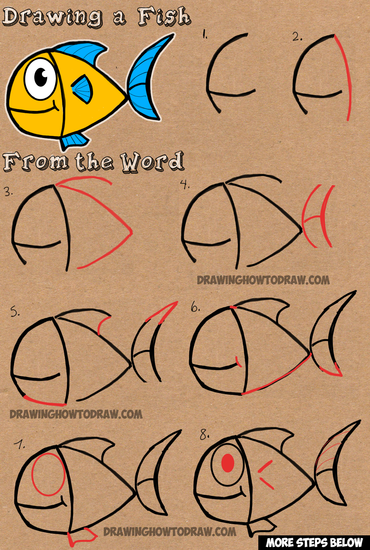 How to Draw a Cartoon Fish from Word Fish Simple Drawing Tutorial for Kids