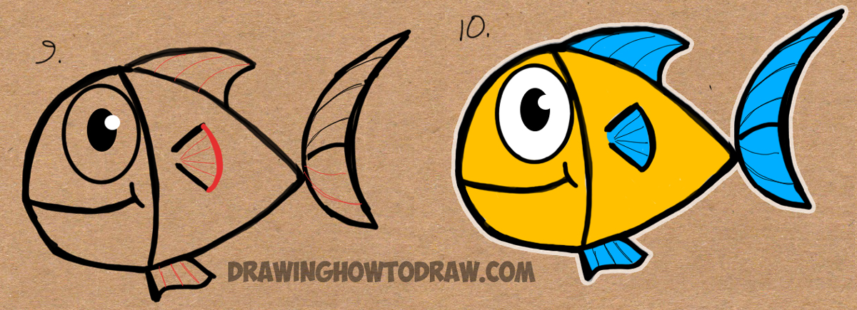Drawing a cartoon fish from word fish wordtoons for children