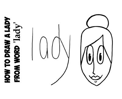 How to draw a lady from the word lady