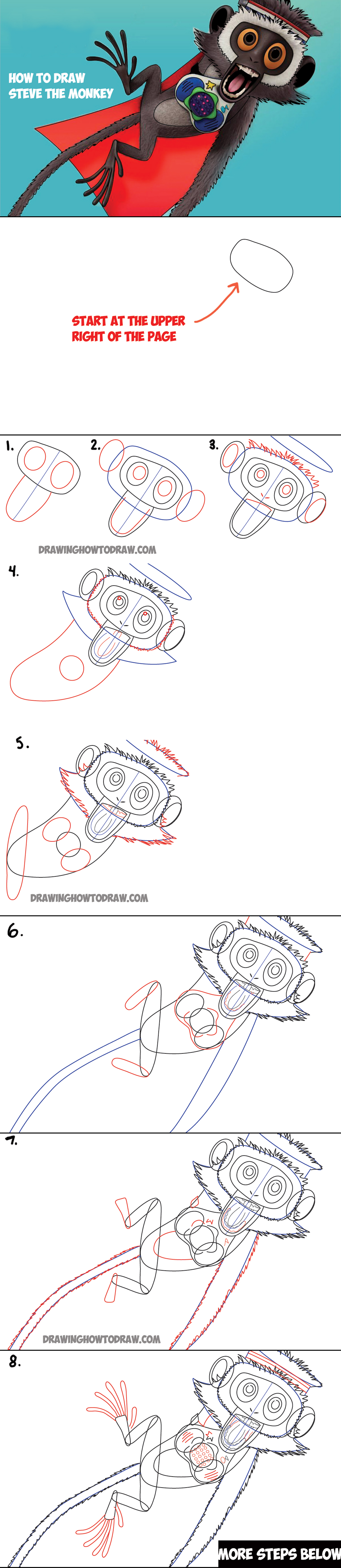 How to Draw Steve the Monkey from Cloudy with the Chance of Meatballs