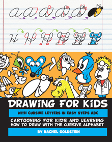 drawing book for turning cursive letters into cartoons for kids