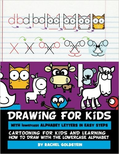 kids drawing lesson book - learn how to draw cartoons from lowercase letters
