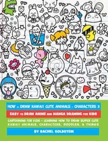 How to draw cute animals, food, things, characters kawaii chibi book drawing for kids