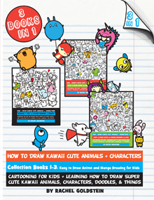 drawing kawaii style tutorials books 1-3 for kids
