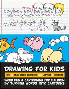 drawing for kids with words, letters, and numbers