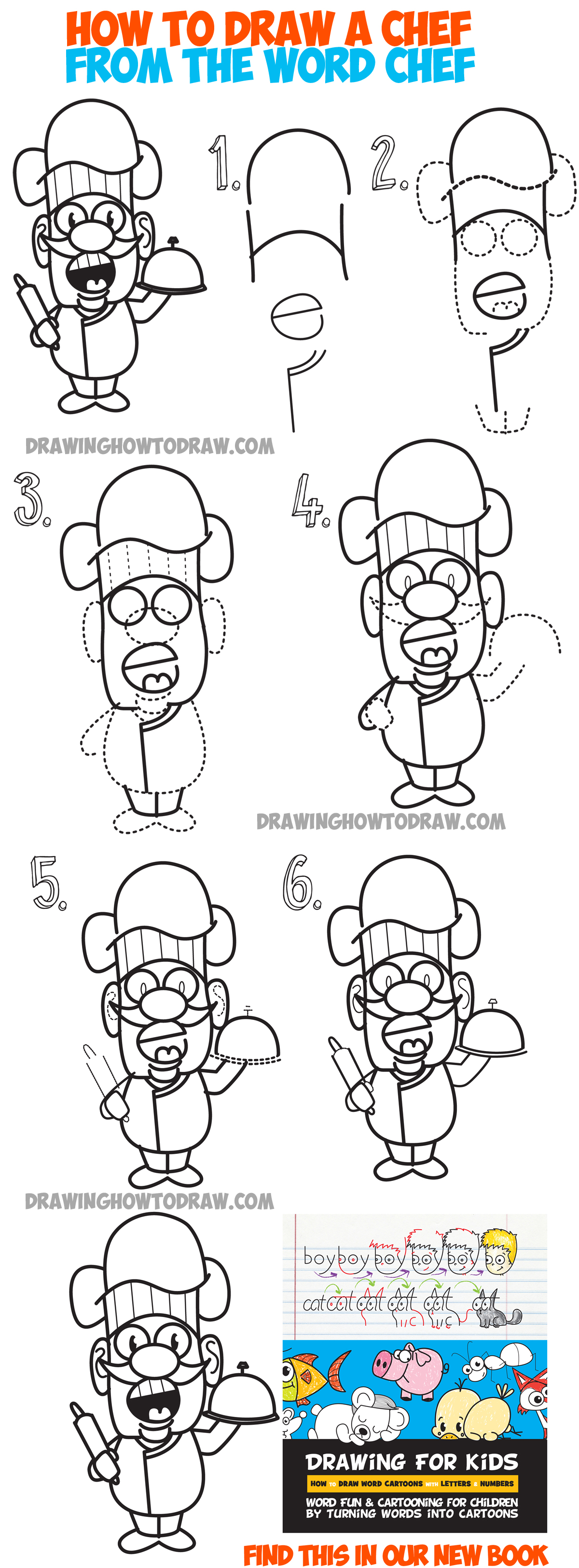 How to Draw a cartoon chef from the word chef