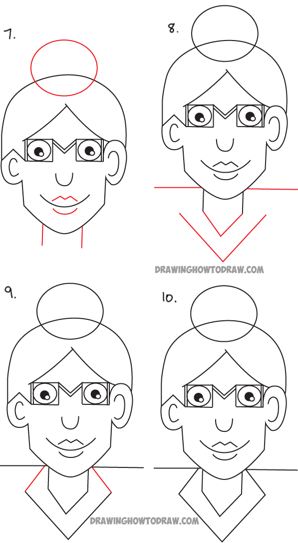 drawing cartoon woman from the word woman - simple drawing lesson