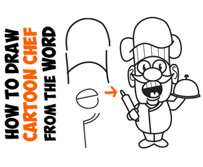 Learn how to draw a cartoon chef from the word chef