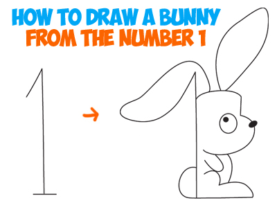 how to draw a cartoon bunny rabbit with the number one - cartoon drawings