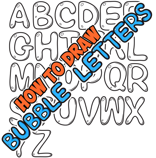 easy way to draw bubble letters for kids