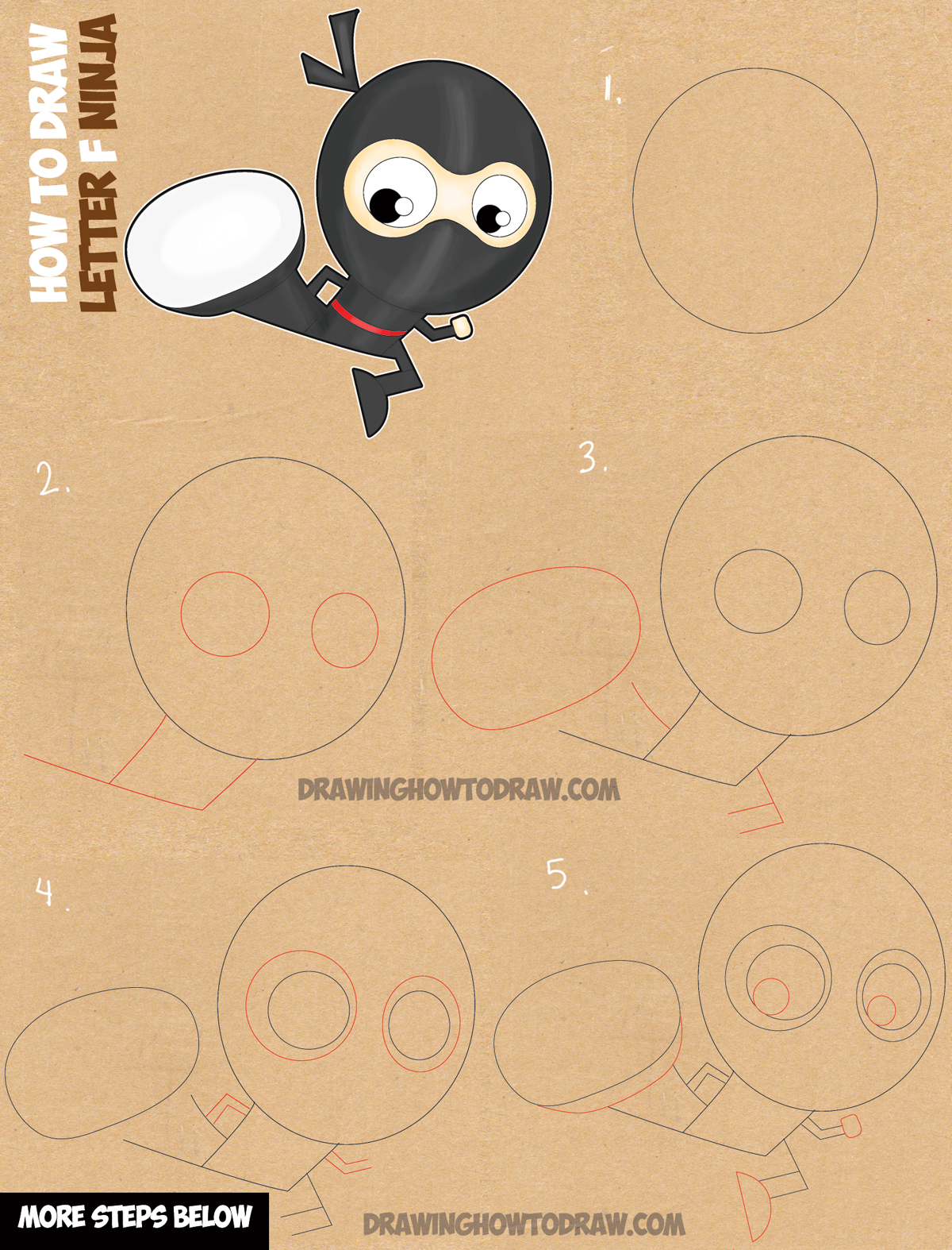 learn how to draw cartoon ninjas with the letter f easy drawing tutorial for kids