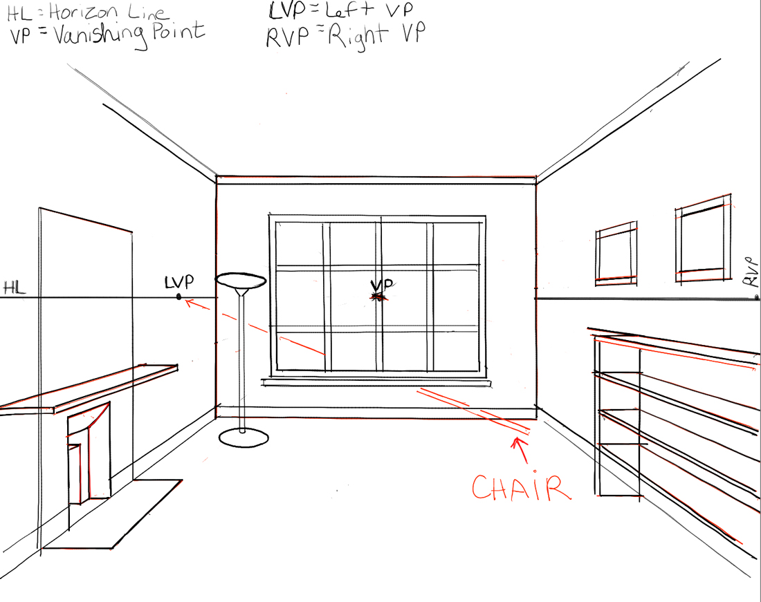 One point perspective living room drawing - 12 3 Point Perspective Room Interior Inside Room