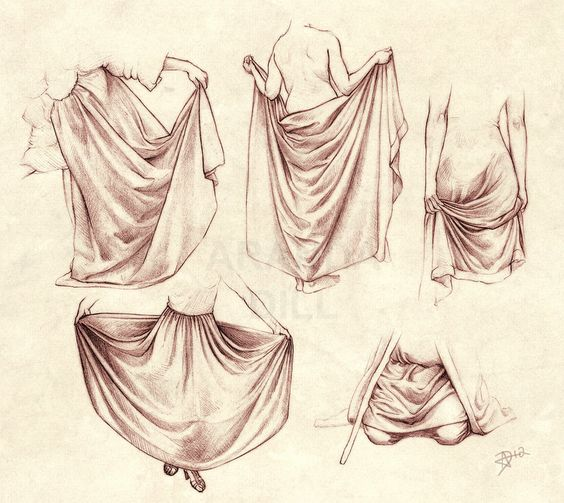 Reference for clothing folds and wrinkles and drapery