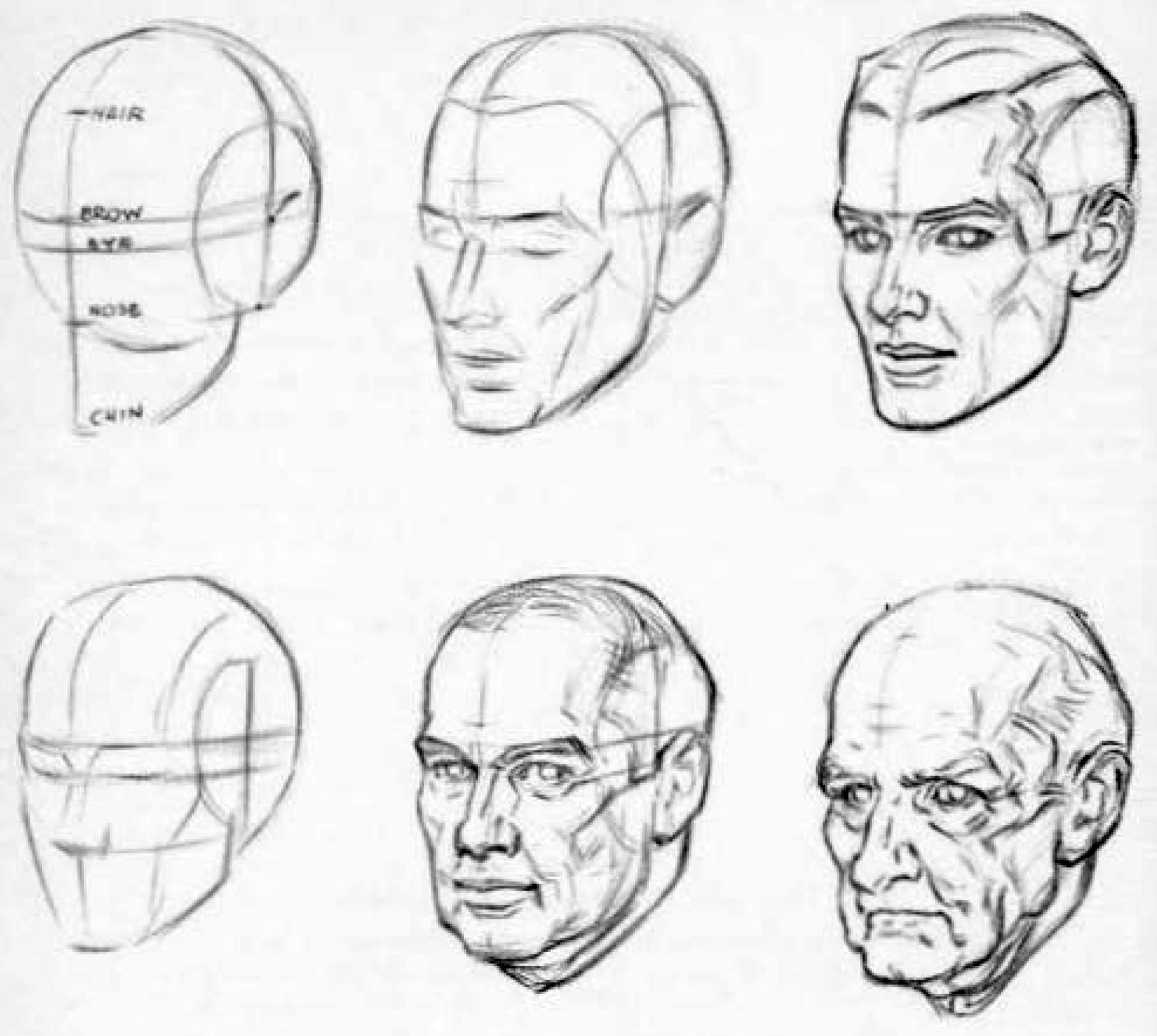 How to draw an aging elderly or old man