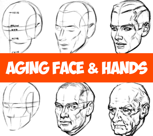 How to Draw Aging Faces and Hands and Where to Draw Wrinkles on the Head and Face Tutorial