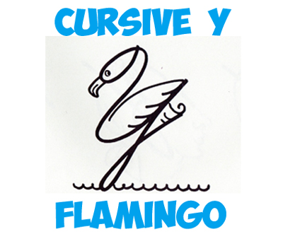 drawing cartoon flamingos from capital cursive letter y