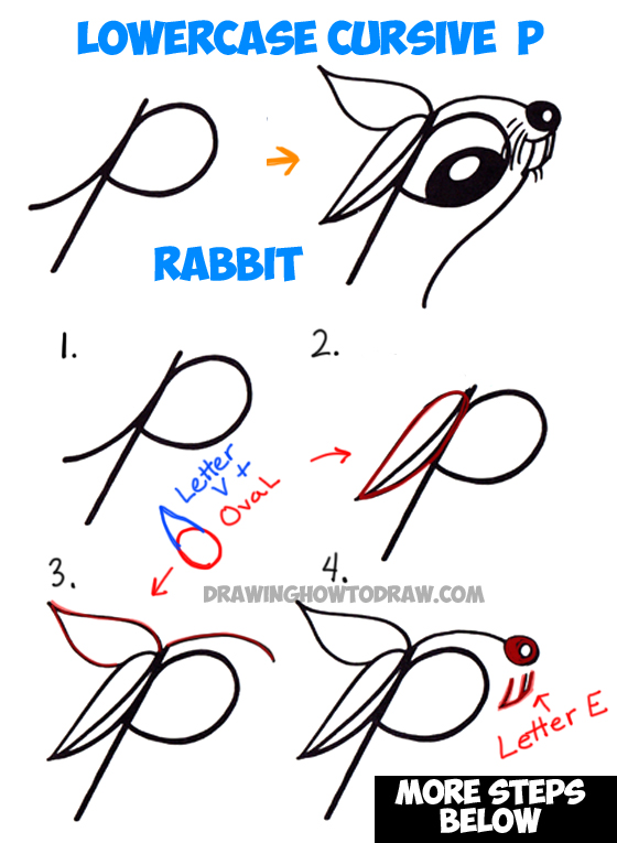 How to Draw Cartoon Bunny Rabbit from Lowercase Letter r in Easy Step by Step Drawing Tutorial for Kids