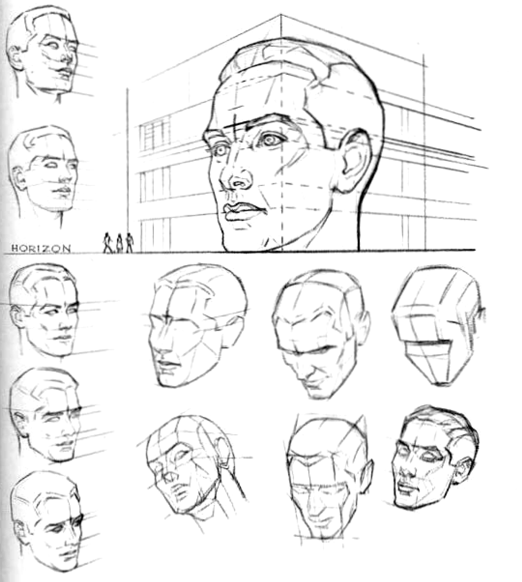 Every object draw must have a horizon line and an eye level. On the left, above, we see the planes of the face and head as seen from above or below the eye level.