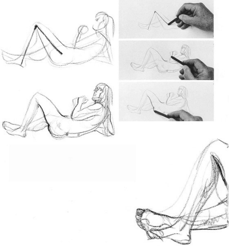 "Try a larger, lying down position, starting once more with a ""stick"" figure and continuing."
