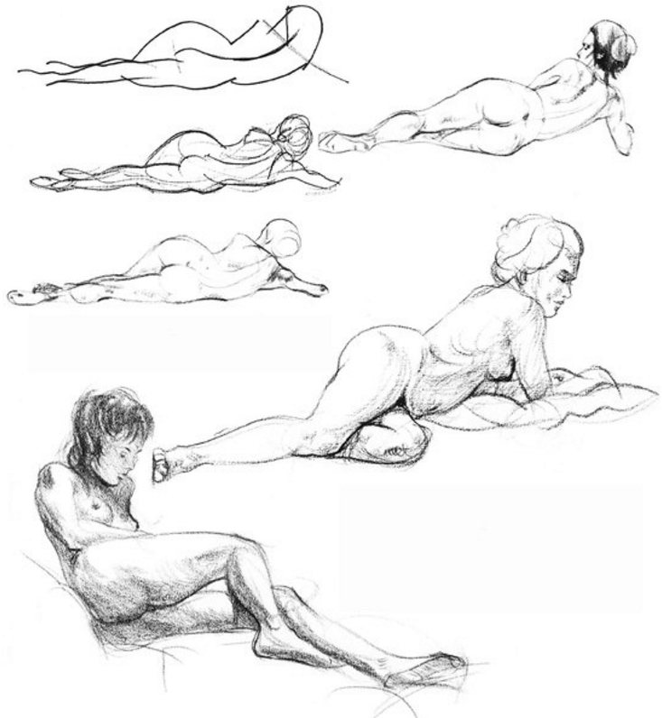 The three step-by-step drawings above show, once again, typical procedure in figure drawing.