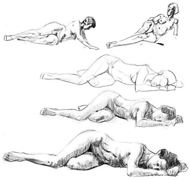 Lying down poses, aside from being a welcome relief for the model