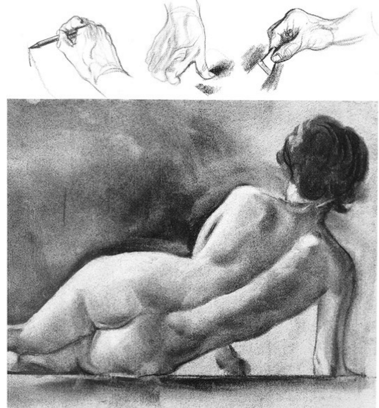 my hand sketching, with a long stick of vine charcoal held very lightly, the overall planning of the drawing in flowing lines. The next indicates thumping out all but a faint i1nage of the early work. The third indicates redrawing with a charcoal pencil or whatever medium you are using. With 1nuch of the early mistakes taken care of in the thumped-out charcoal sketch, it's a bit easier to emphasize or eliminate passages. The last two sketches show a s1nudging with the thu1nb to get tones, and the use of a kneaded eraser to lighten other sections. The sketches are in no firm order, and the various operations may be repeated ti1ne after time, your patience and the strength of the paper being the governing factors.