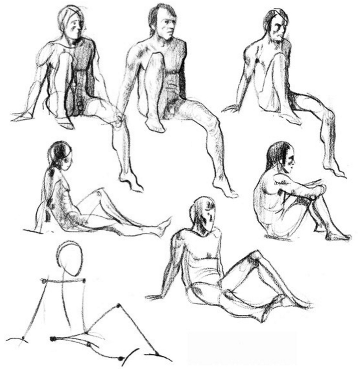 Here I draw a few sketches of the very active male model.