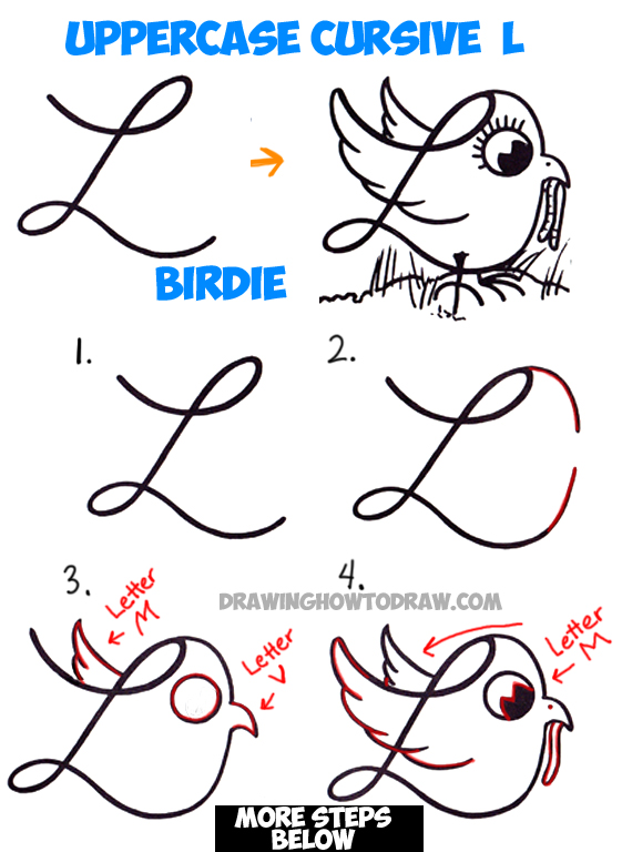 how to draw cartoon bird with worm from uppercase cursive l easy step by step drawing lesson for children