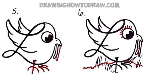 how to draw a cartoon bird with worms in its mouth from a letter L shape