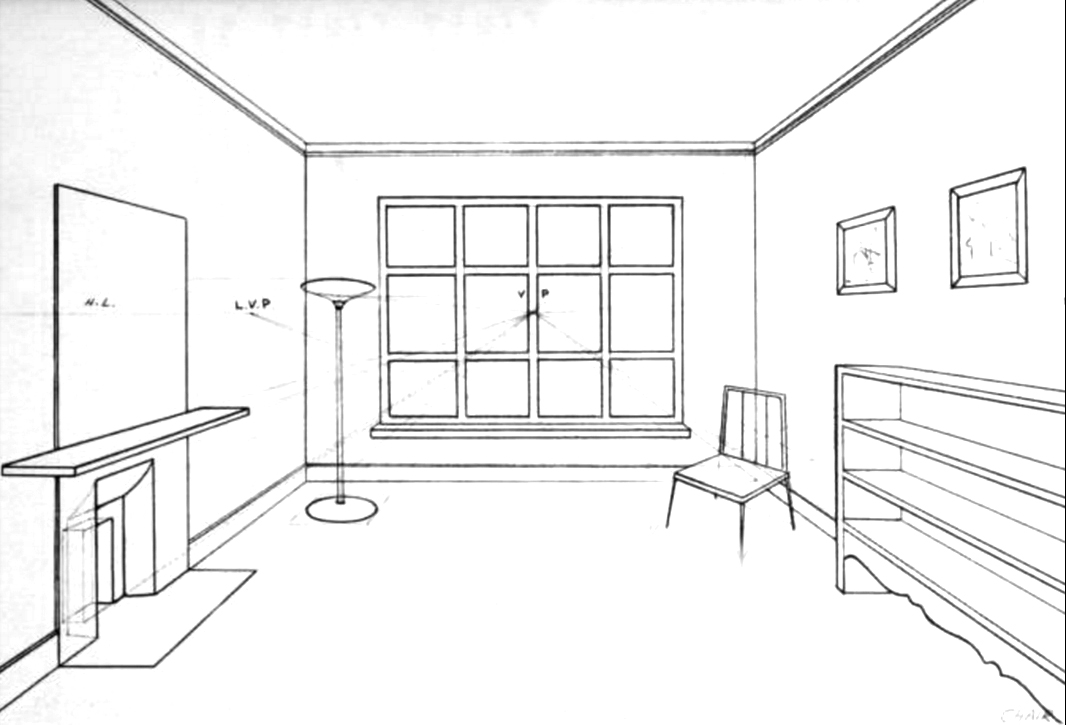 How to draw the inside of a room with 3 point perspective for Drawing room interior