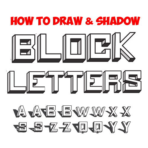 how to draw shadowed block letters