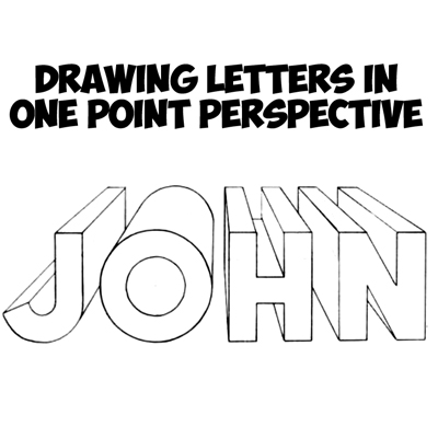 how to draw 3d letters in one point perspective perspective drawing tutorial