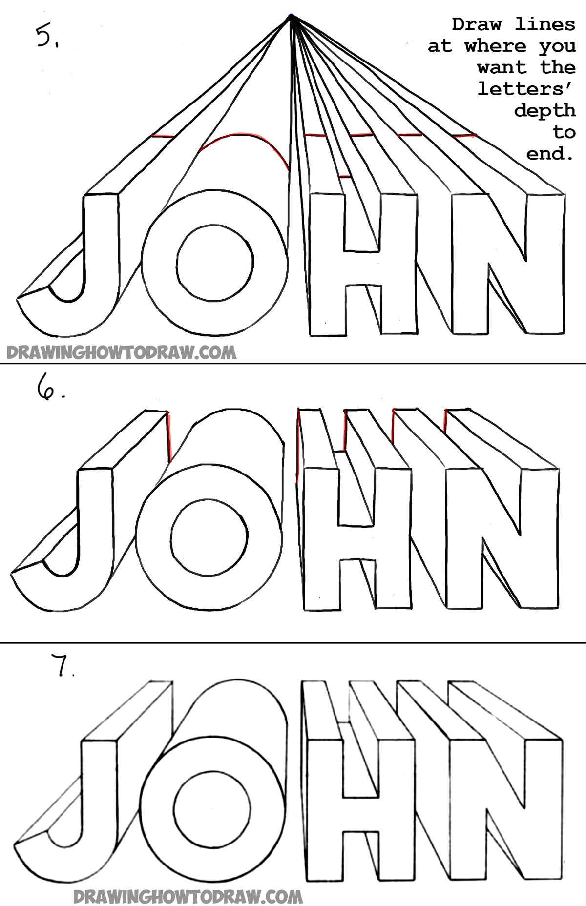 how to draw 3d letters in one point perspective