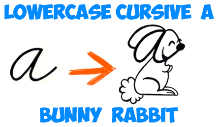 drawing cartoon rabbits from cursive letter a shape