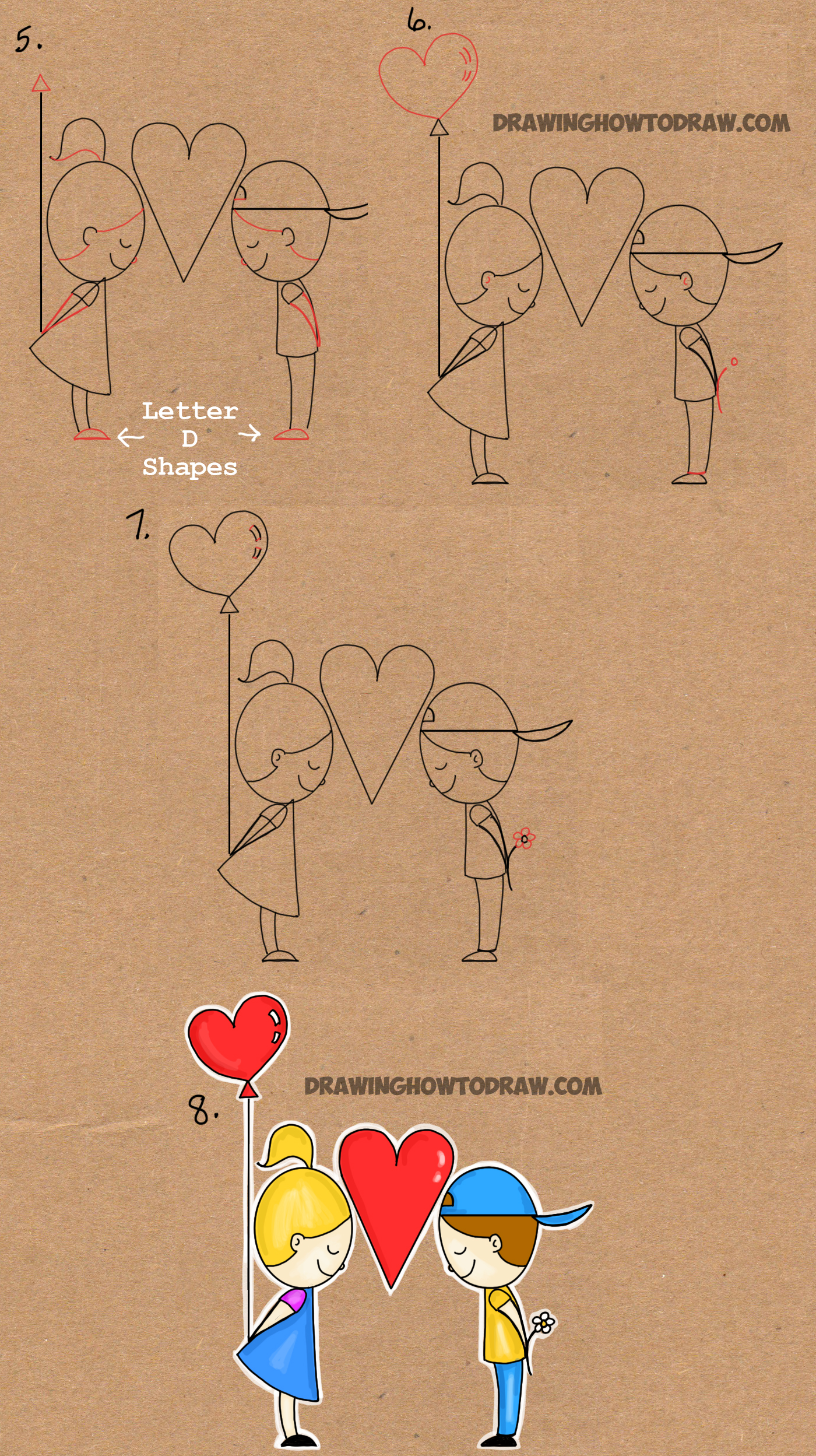 step by step drawing tutorial for drawing love word toon