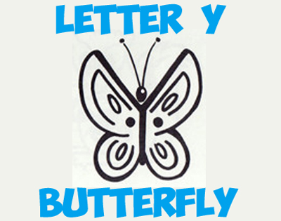 drawing butterflies with simple shapes and letters