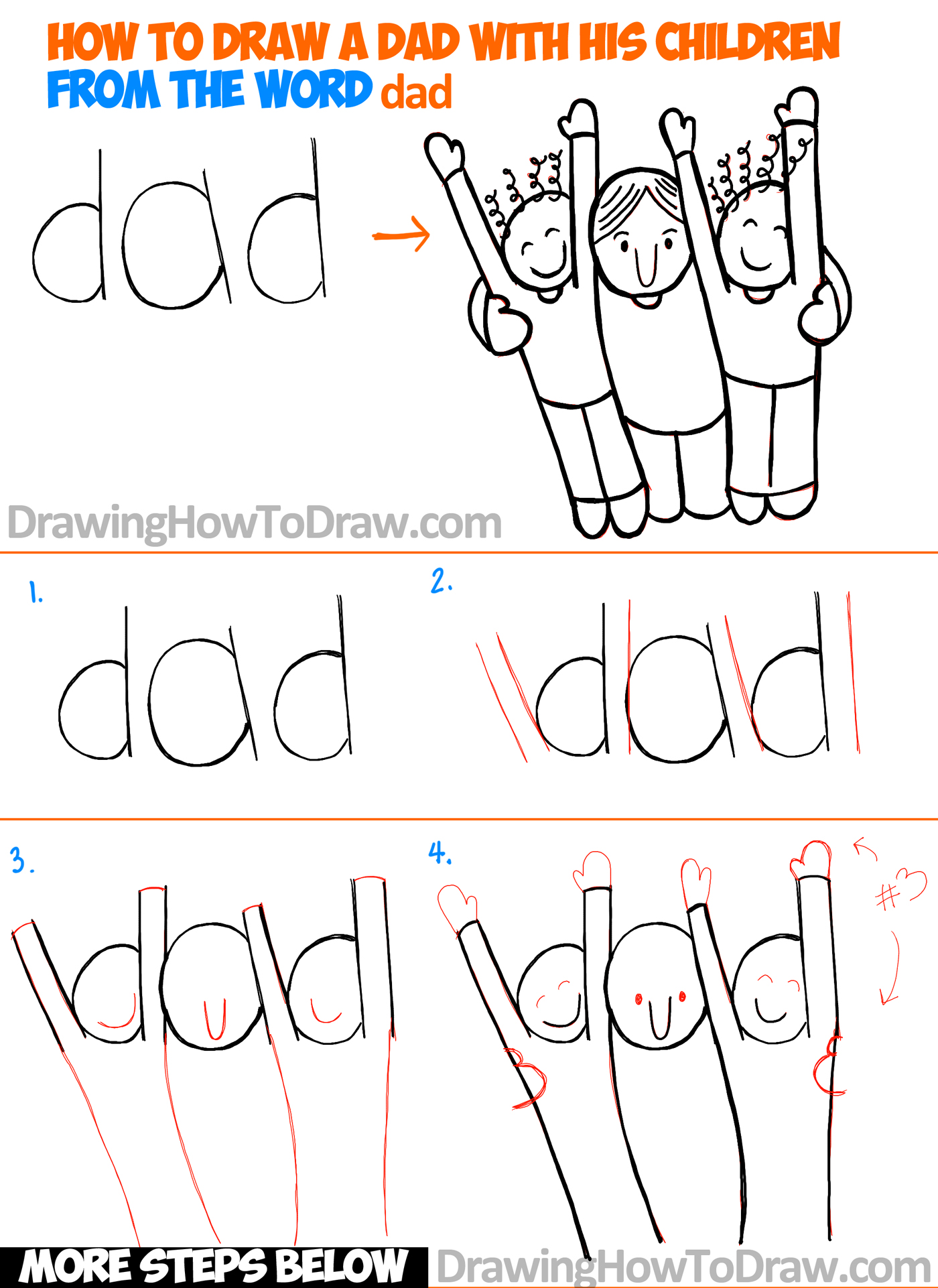 how to draw a cartoon dad and children from the word dad easy word toon - Cartoon Drawings Of Children