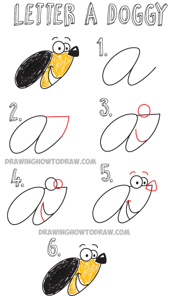 How To Draw Cartoon Dog From Cursive Letter A Easy Drawing Tutorial For Kids