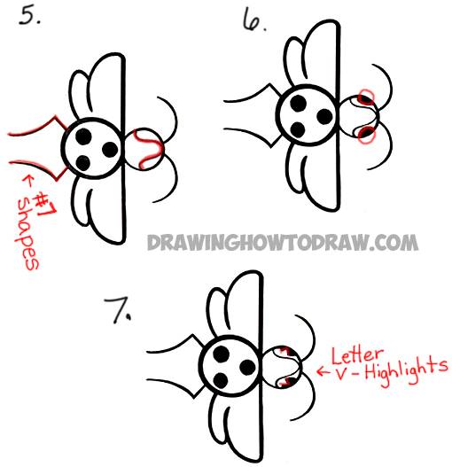 Drawing Cartoon Ladybug From Cartoon Letter D With Easy Steps