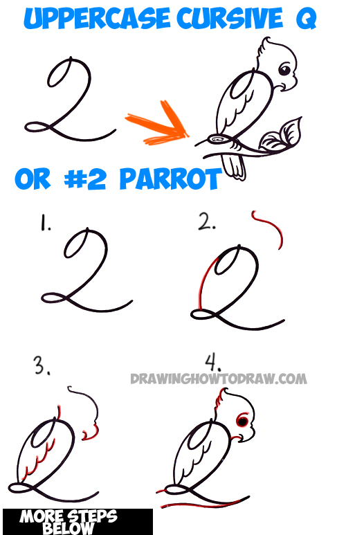 How to Draw Cartoon Parrot from Number 2 or Capital Cursive Letter Q Easy Step by Step Drawing Lesson