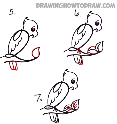 learn how to draw a cartoon parrot from number 2 or uppercase cursive letter q
