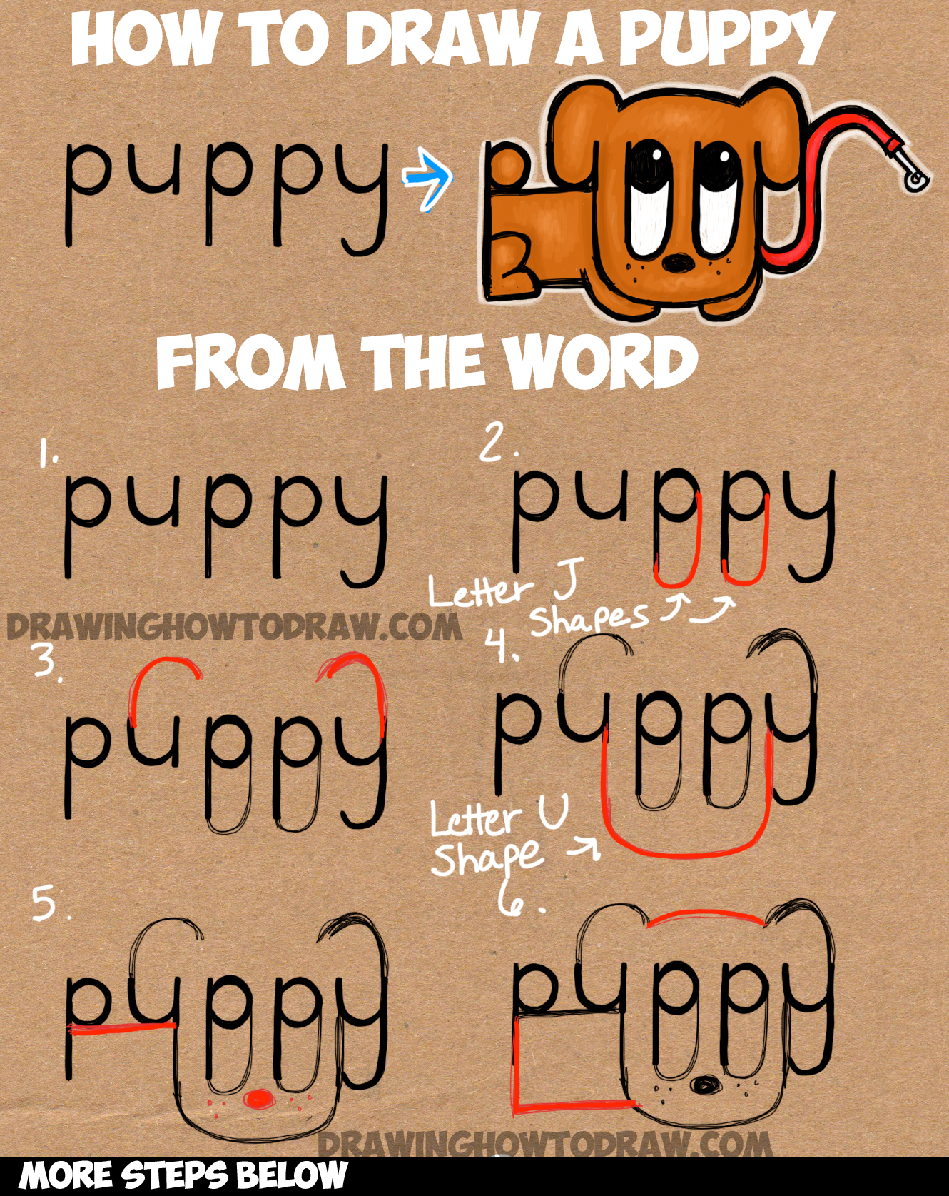 Learn How To Draw A Cartoon Puppy From The Word Puppy : Simple Step By  Step How To Draw A Dog Using Numbers!