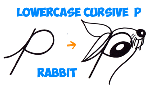 how to draw cartoon rabbit from cursive letter p