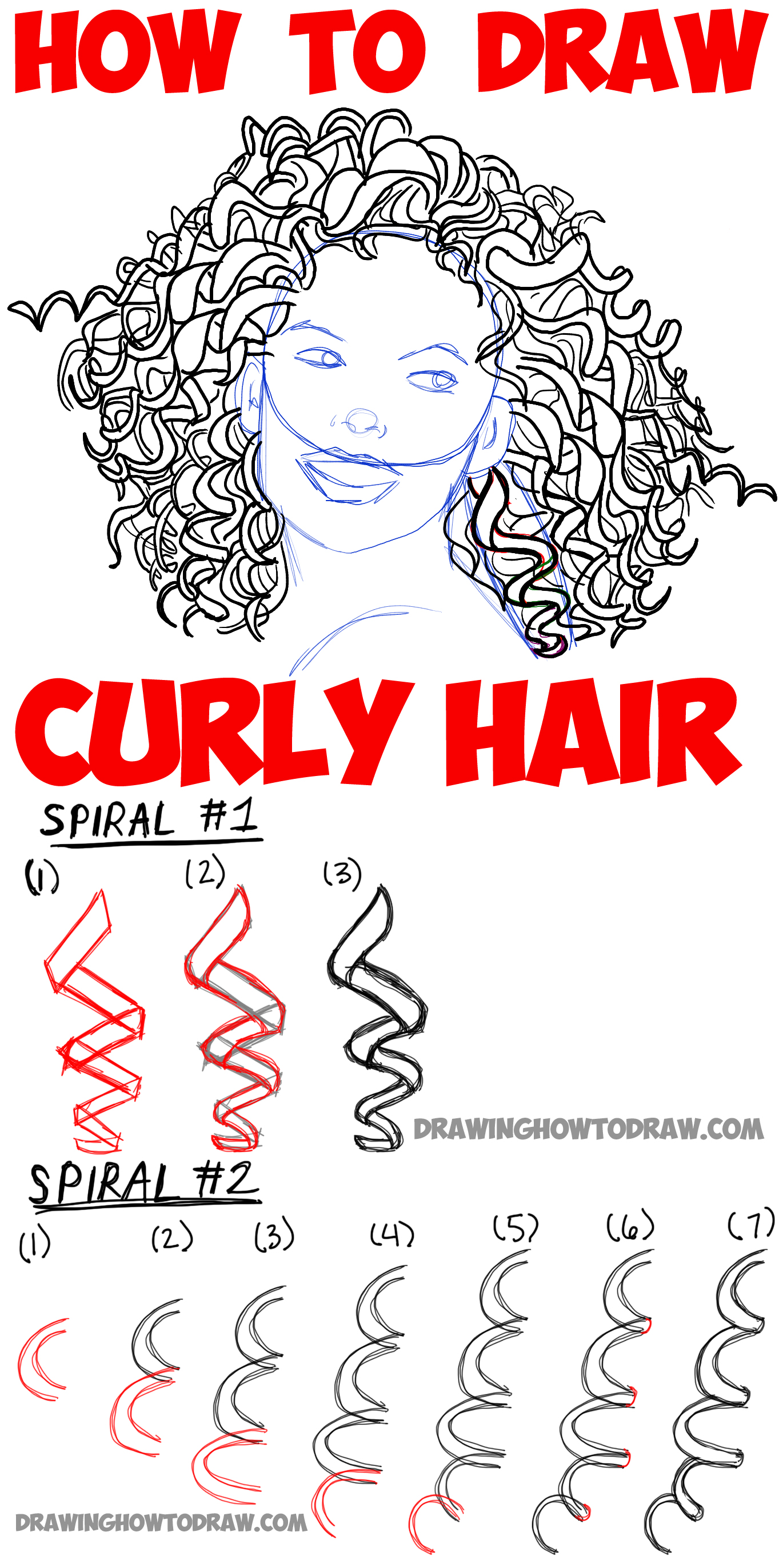 How To Draw Curly Hair Drawing Spiral Curls Tutorial