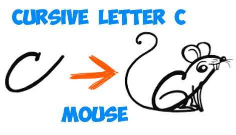 how to draw cursive letter drawing of a mouse